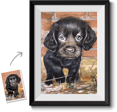 This is a watercolor pet painting from photo