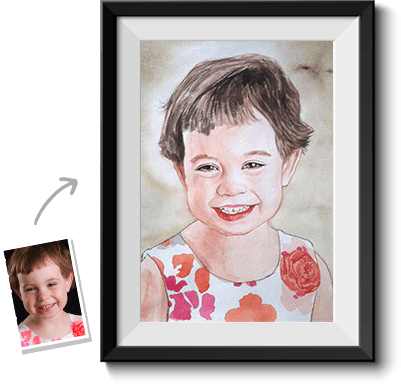 This is a watercolor painting done by our portrait artists