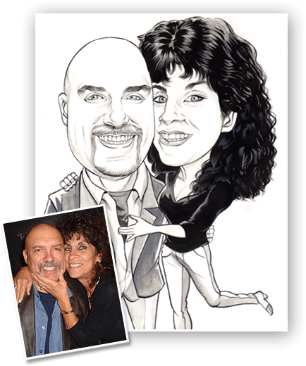 caricature drawing of a couple