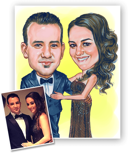 Wedding caricature for anniversary gifting