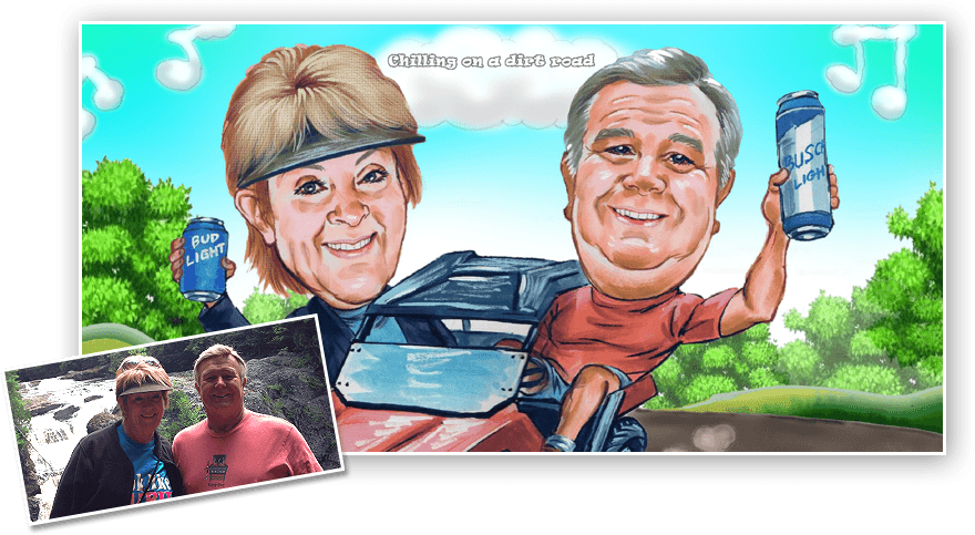 online caricature of a couple enjoying on diret bike