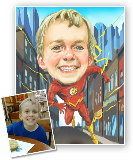 Superhero Caricature commissioned by our caricature artist