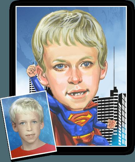 Superhero caricature from photo