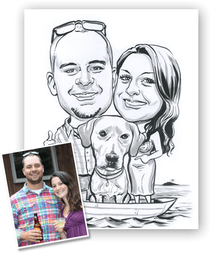 characture of family and pet caricature