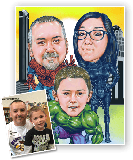 Perfect example of family superhero caricature - hulk caricature for son, spiderman caricature for father and batwoman caricature for mother