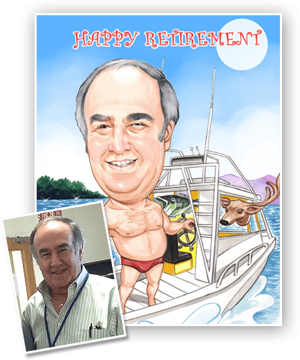 caricature on a vacation boat