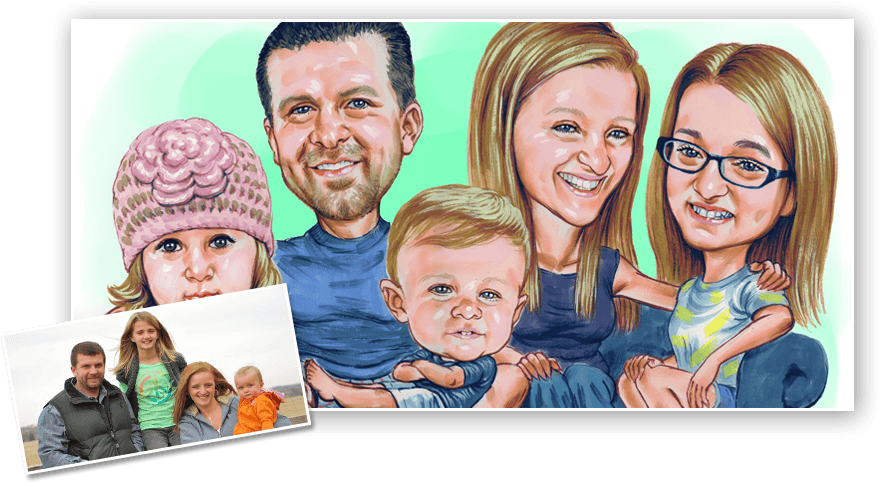Family Caricature from photo
