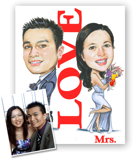 caricature of a couple in love