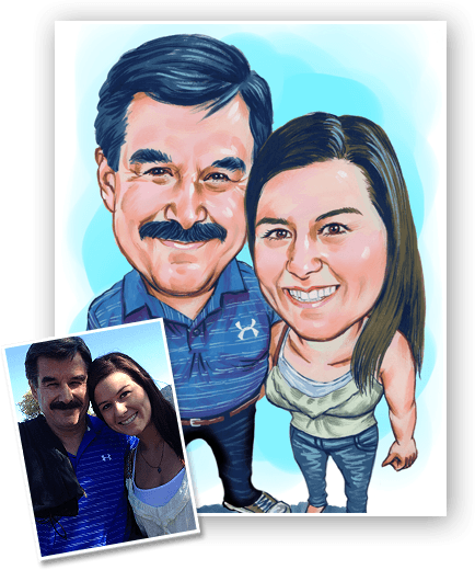 colored caricature of father and daughter. This is a perfect caricature gift