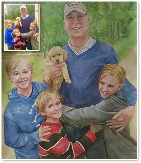 family watercolor portrait painting