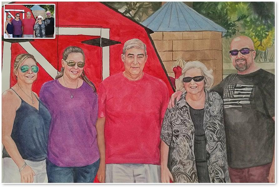 watercolor family portrait