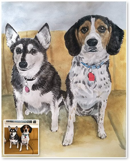 watercolor of dogs